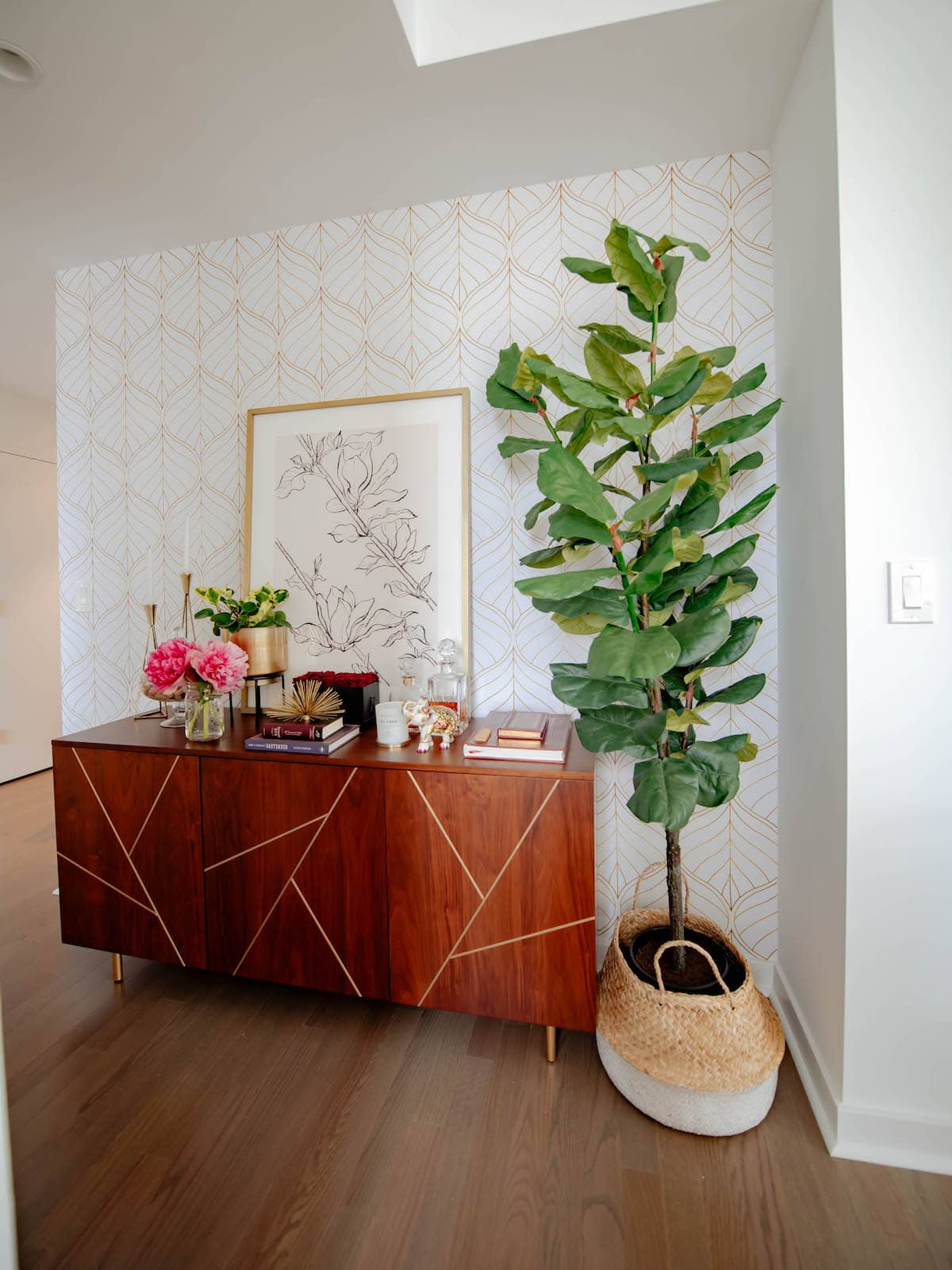 temporary wall coverings for your apartment wallpapered wall with console and fiddle leaf fig tree
