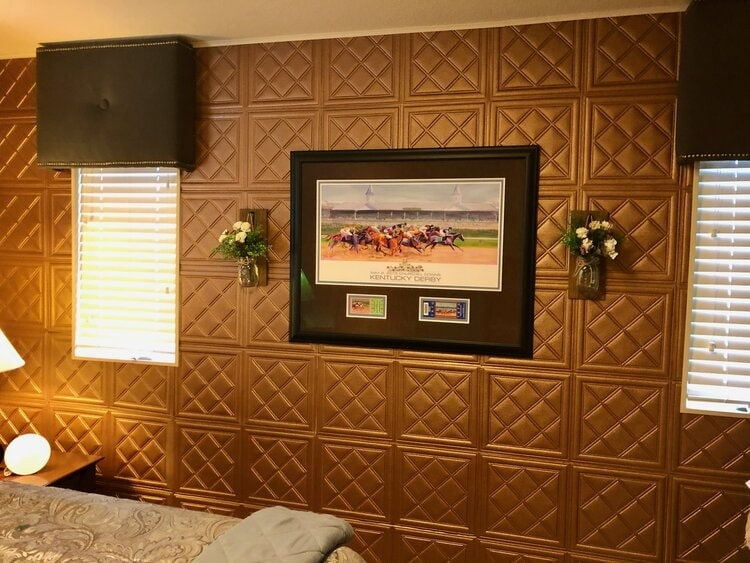 temporary wall coverings for your apartment foam tiles painted copper on wall
