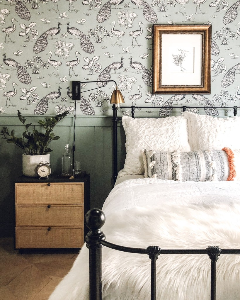temporary wall coverings for your apartment bedroom with farmhouse bed and decor elements