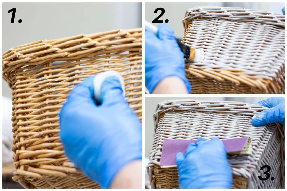 diy chippy paint thrifted basket tutorial steps