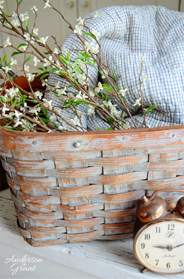 diy chippy paint thrifted basket