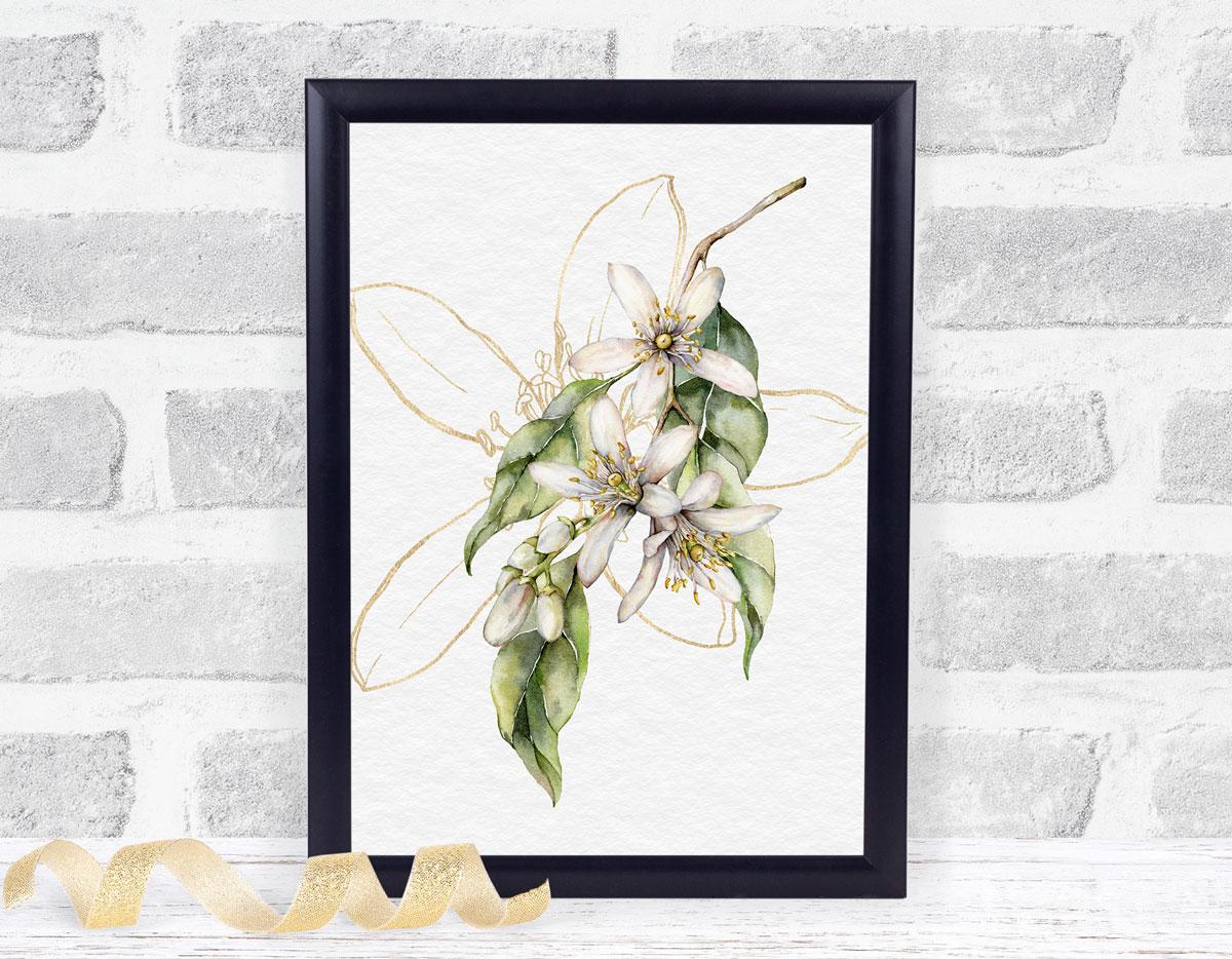 fresh summer lemon printables blossom print in black frame against brick wall