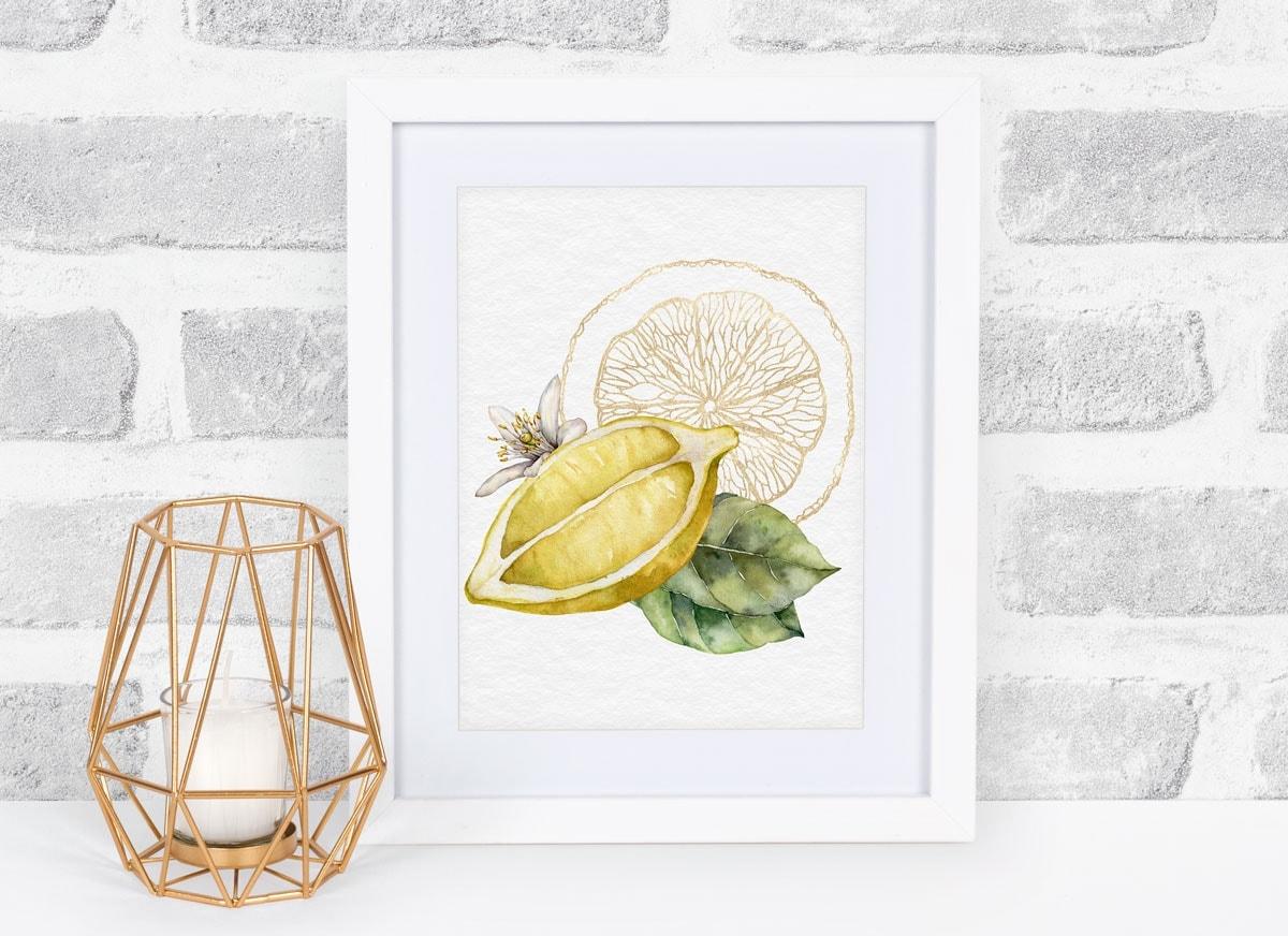 fresh summer lemon printables sliced lemon print in white frame against brick wall
