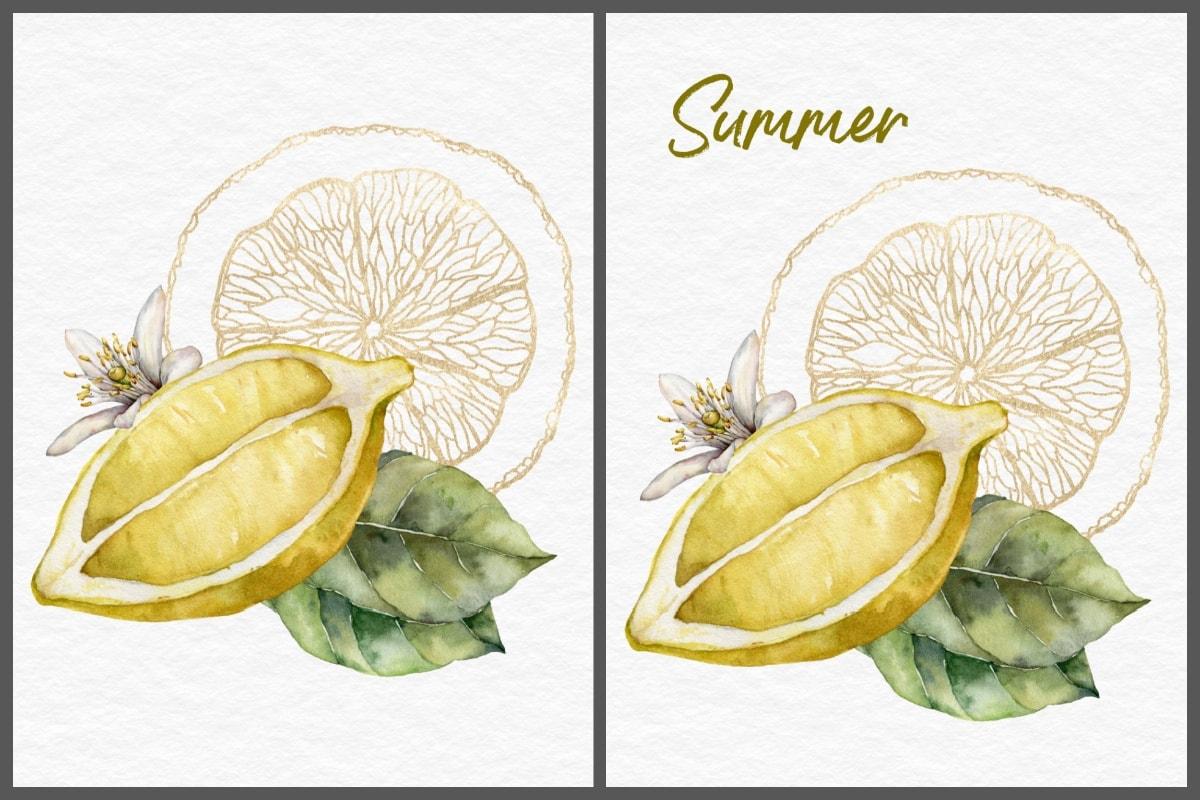 sliced lemon print collage