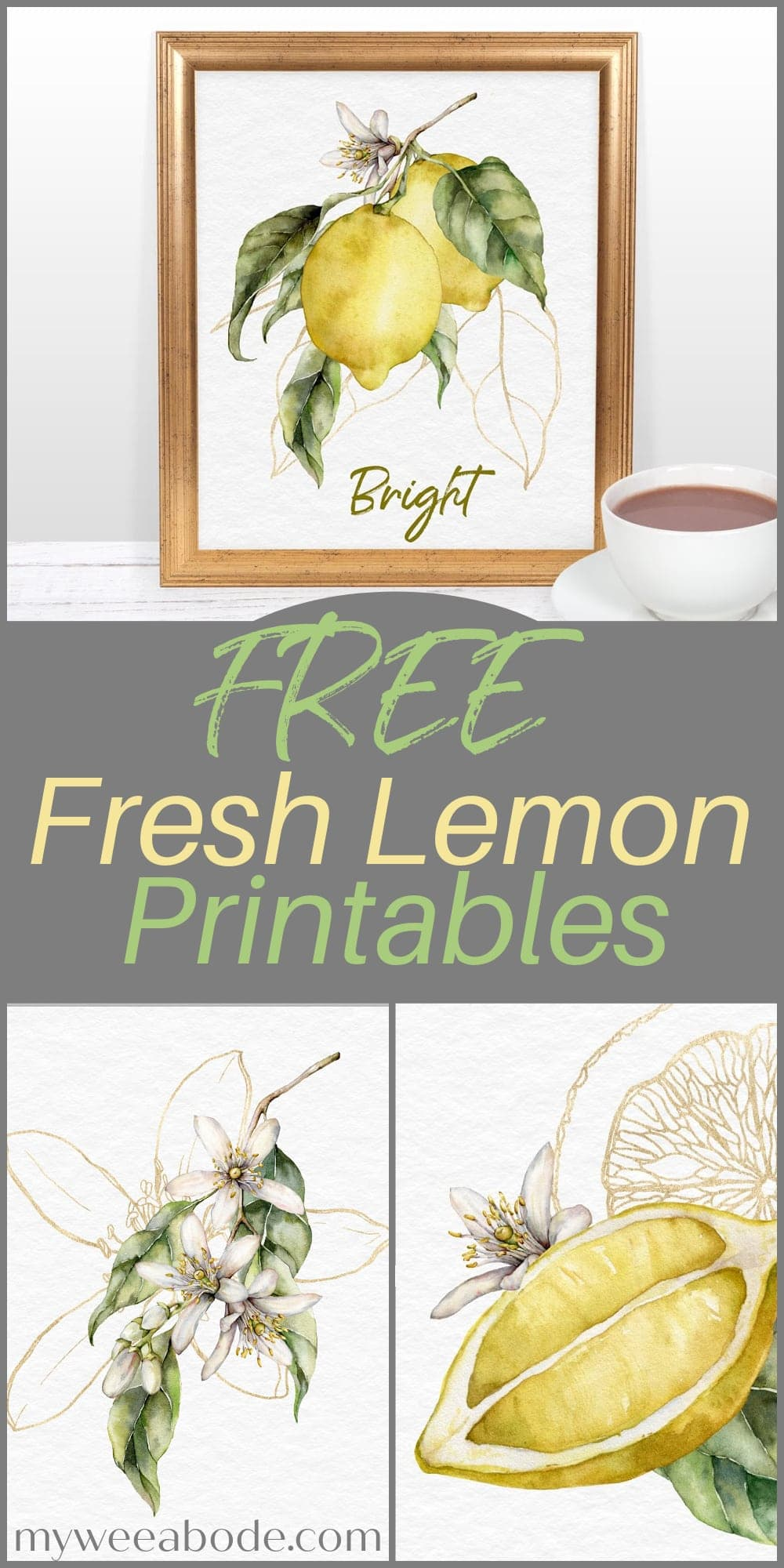 fresh summer lemon printables lemon branch print in gold frame with coffee cup