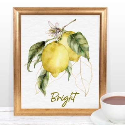 Fresh Lemon Watercolor Printables for Summer