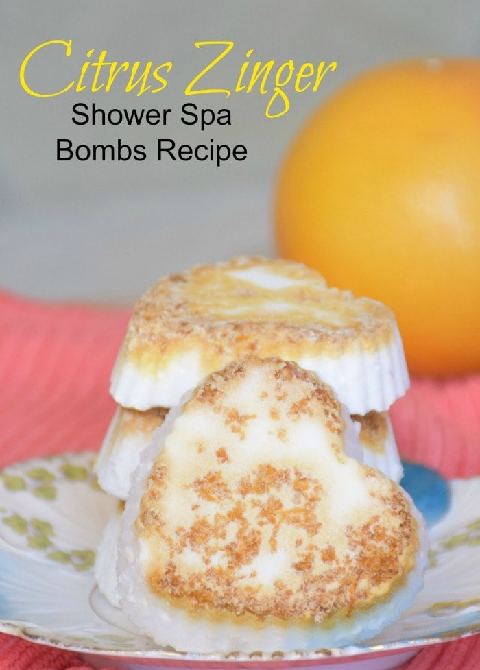 heart shaped shower bath bombs with lemon in background