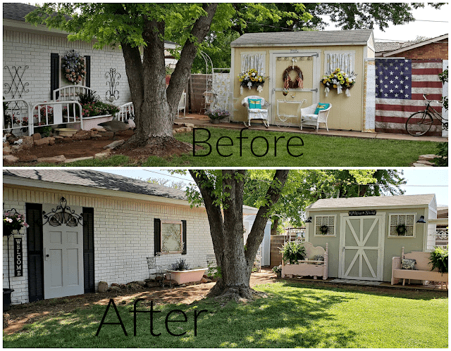 tuesday turn about 100 celebration before and after of a shed makeover in a backyard