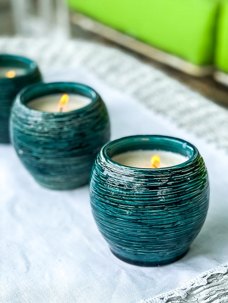tuesday turn about 101 outdoor dining handmade citronella candles in teal pots