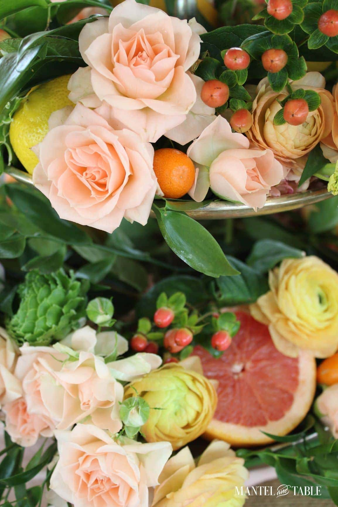 tuesday turn about 101 outdoor dining flowers and citrus on tiered tray