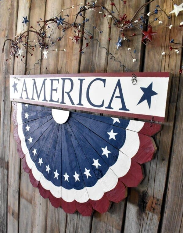 tuesday turn about 102 hello june wooden patriotic bunting on wood wall