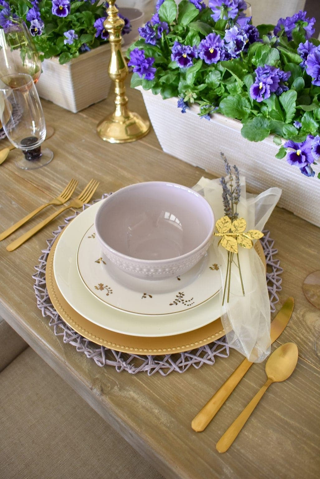 tuesday turn about table happenings lavender and gold tablescape with pansy centerpiece