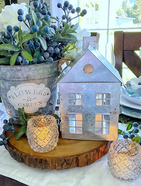 tuesday turn about 105 tablescape blues with a tealight galvanized house and blueberries