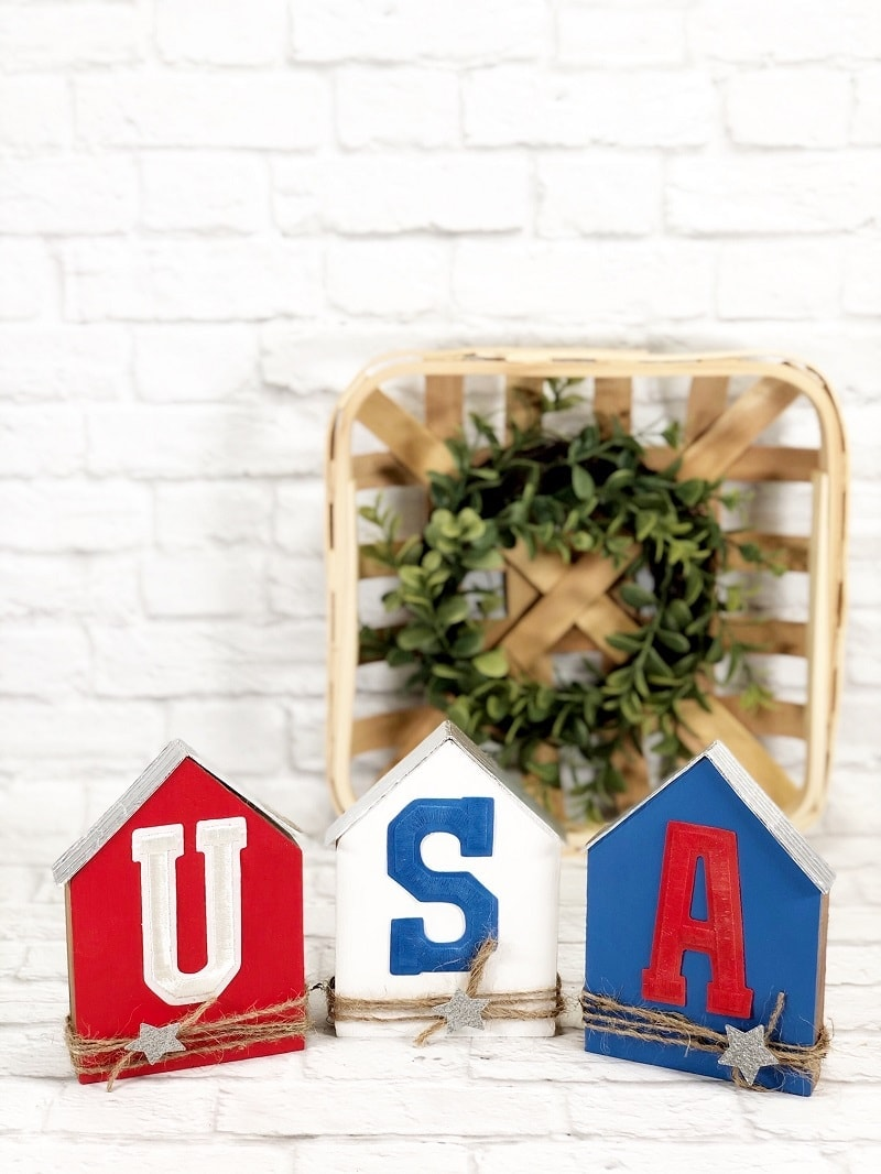 red white blue wooden houses with USA