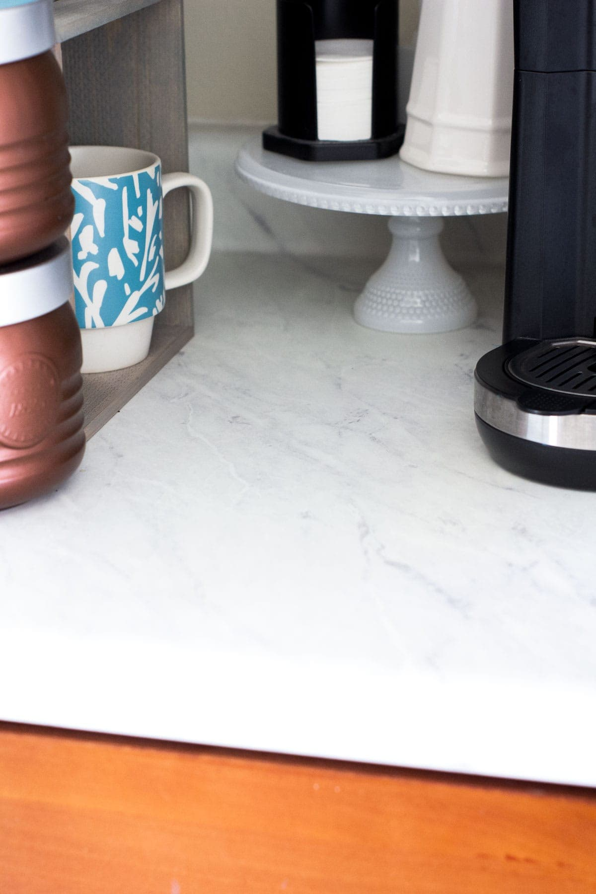 coffee nook with faux marble countertops
