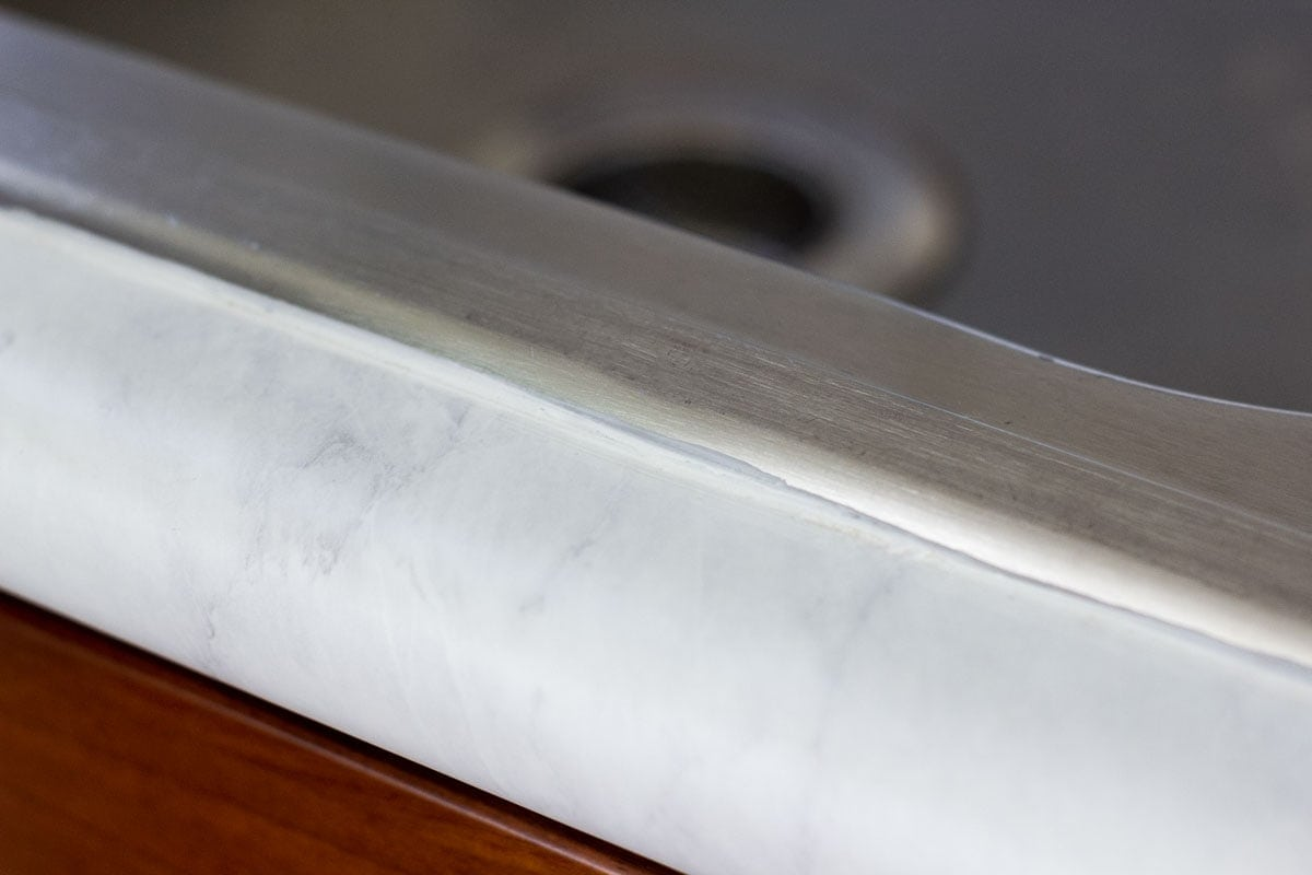 do contact paper countertops hold up faux marble counter with caulking