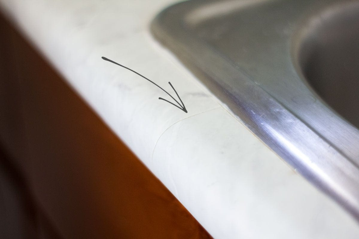 do contact paper countertops hold up faux marble counter with seam