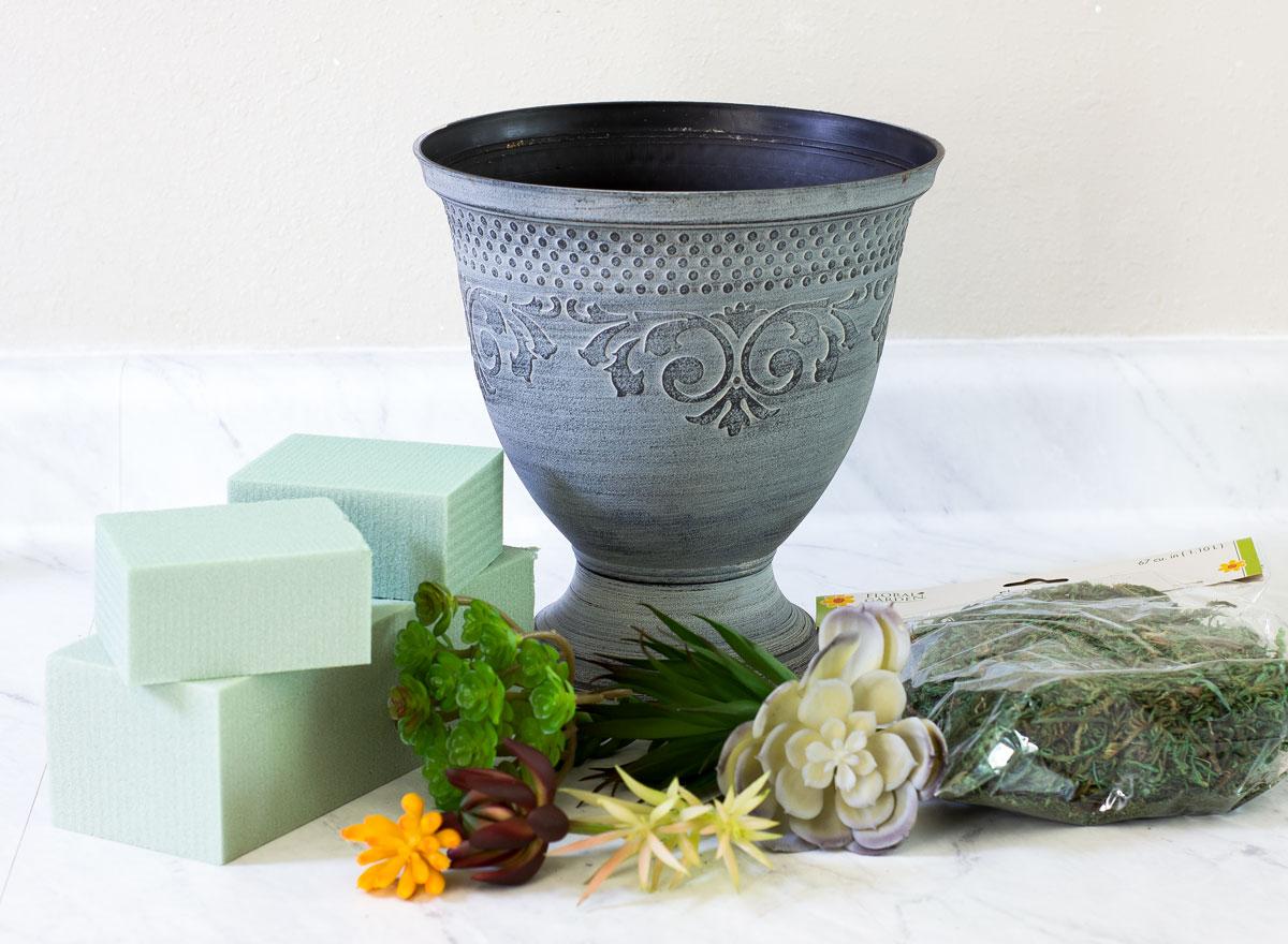 diy faux mini succulent arrangement material needed