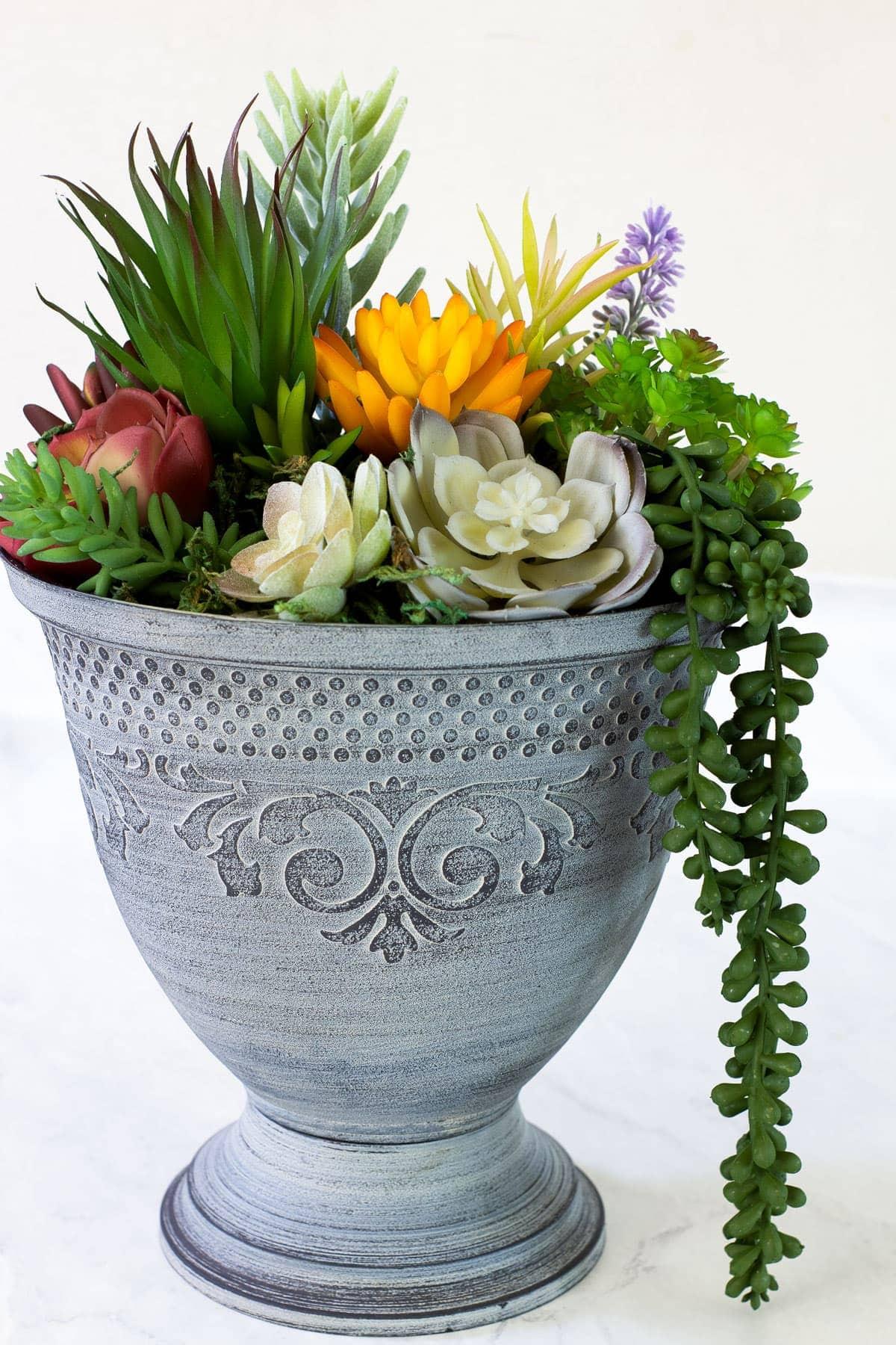 diy faux mini succulent arrangement