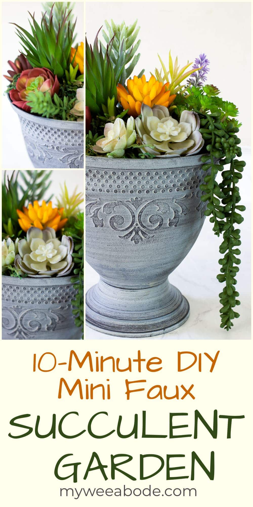 You can create a high-end look for pennies with this DIY faux succulent arrangement. Using items purchased on line or already at home, create your own artificial succulent garden in just about 10 minutes.
