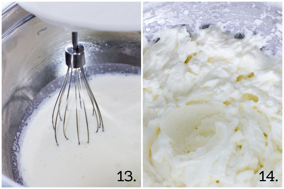 easy no fail strawberry shortcake whipped cream in metal bowl and whisk