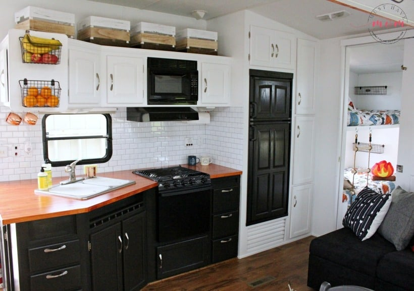 tuesday turn about 107 small living rv kitchen in black and white