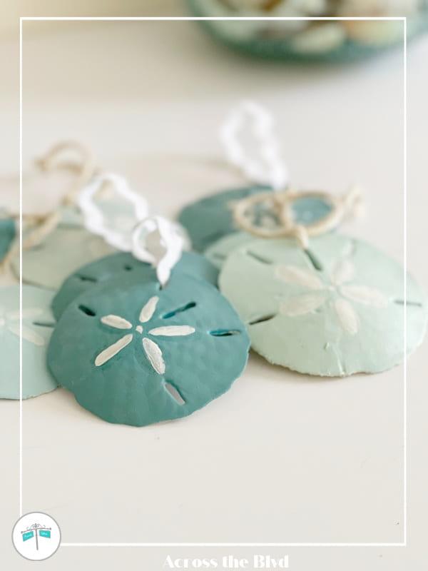 aqua and green sand dollar christmas ornaments