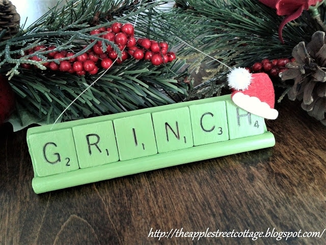 scrabble letters with a grinch look ornament