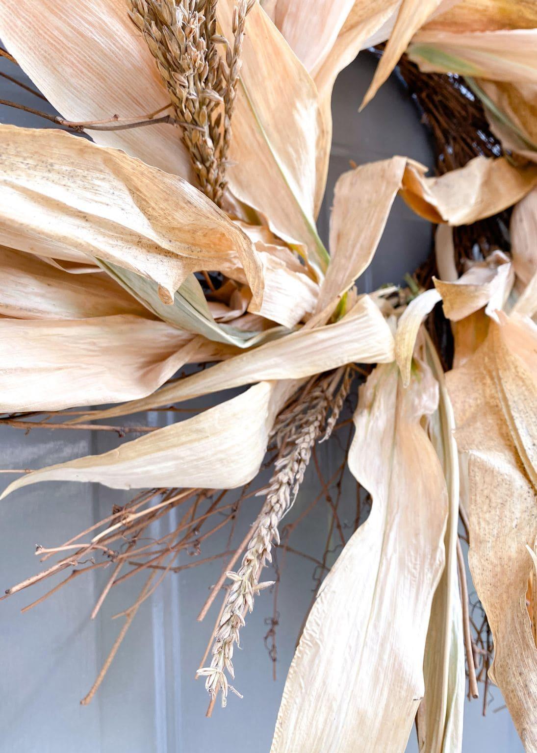 corn husk wreath on door