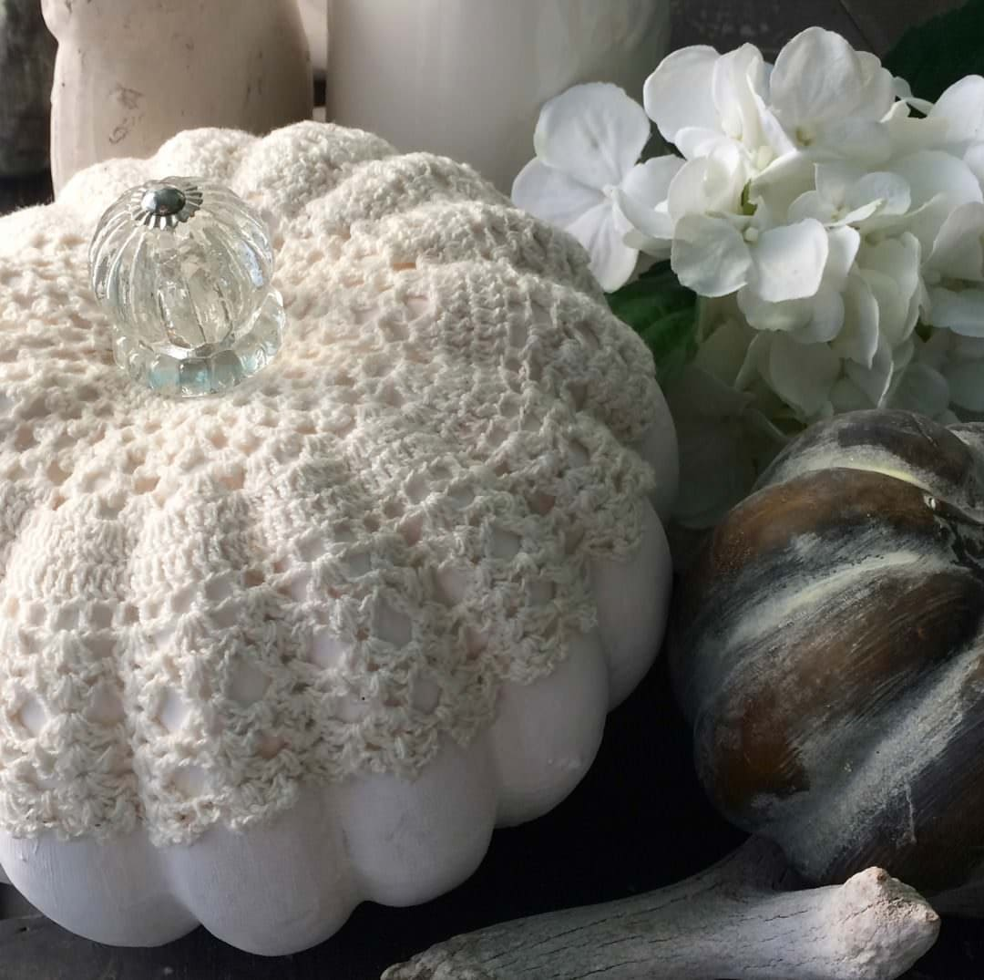 easy early fall diys vintage look pumpkin with lace and crystal stem