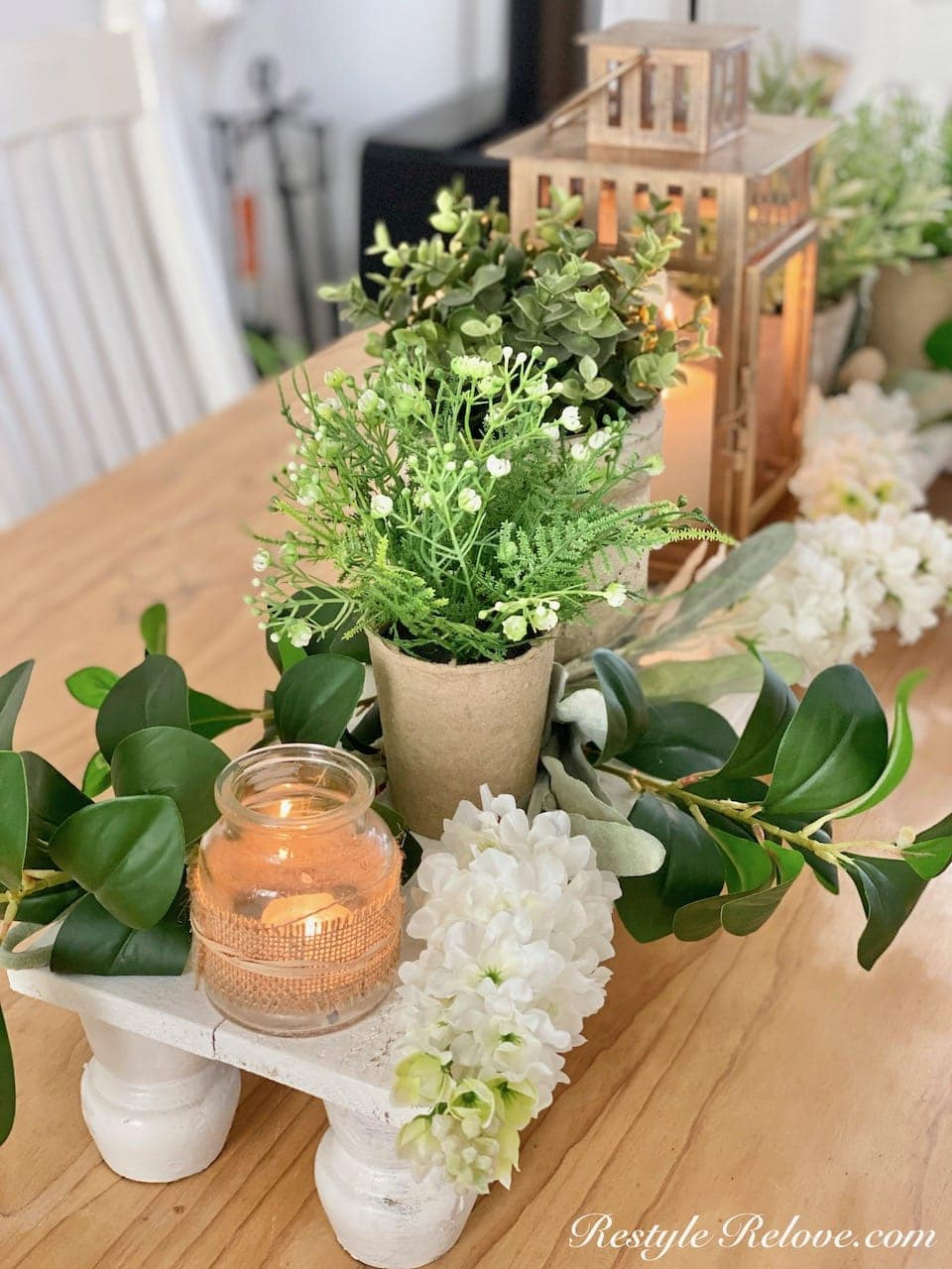 tuesday turn about #112 late summer projects greent and neutral centerpiece on wood riser
