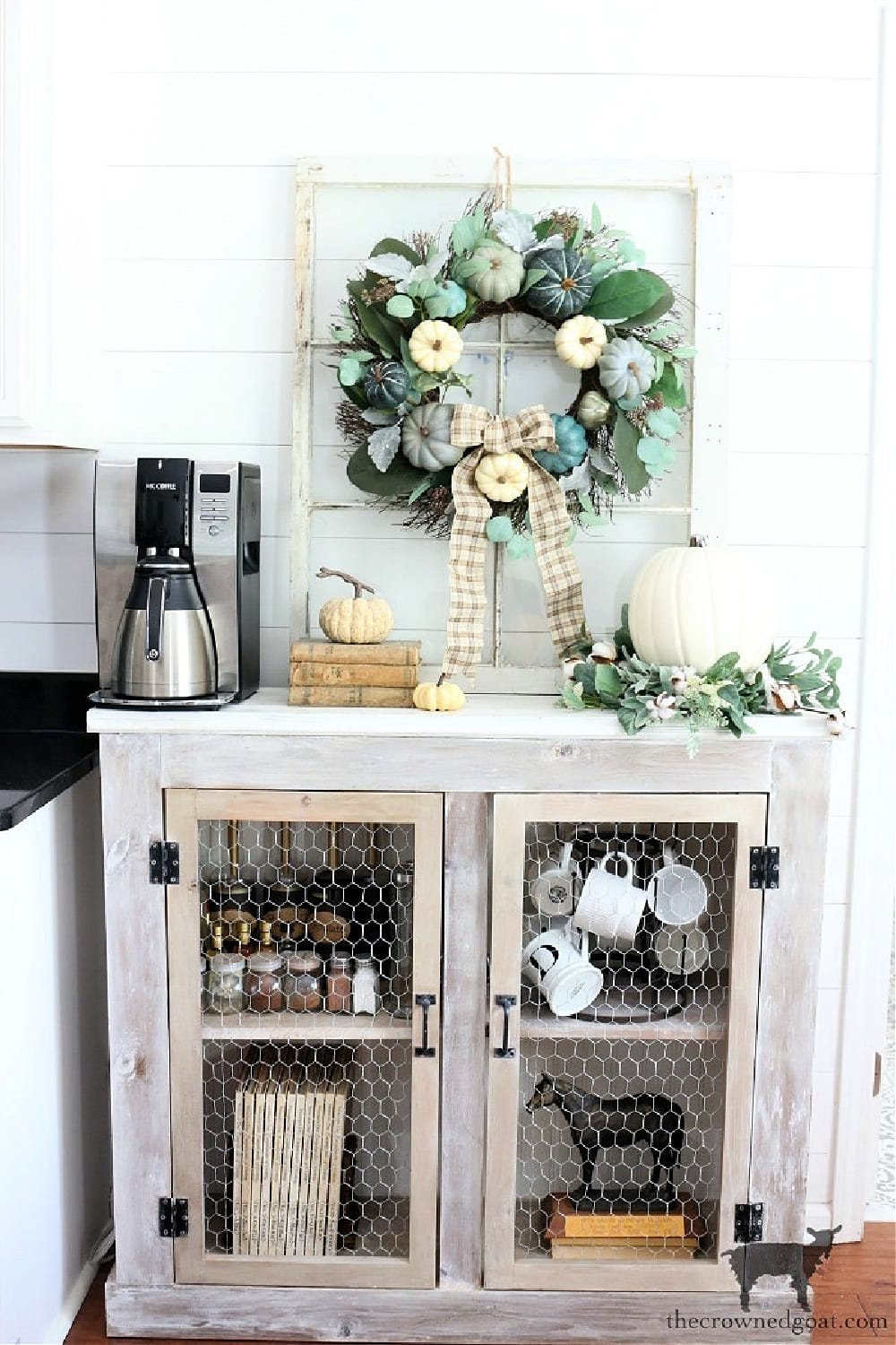 tuesday turn about fall beginnings coffee station cabinet with fall decor
