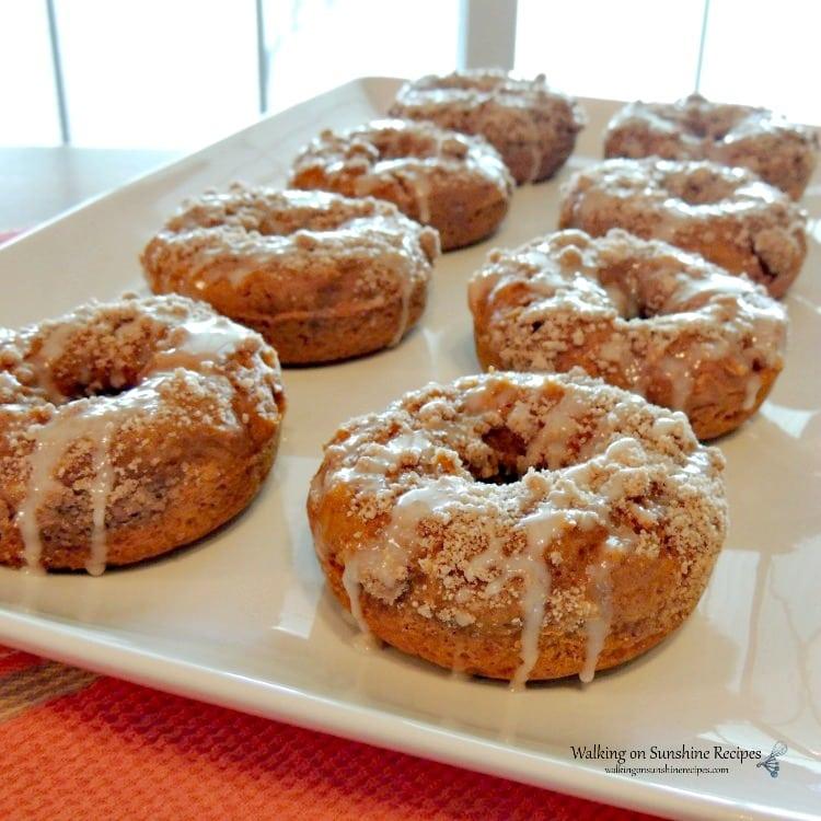 tuesday turn about 114 fall treats pumpkin glazed crumb donuts on white platter