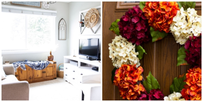 tuesday turn about collage of living room with fall decor and hydrangea wreath