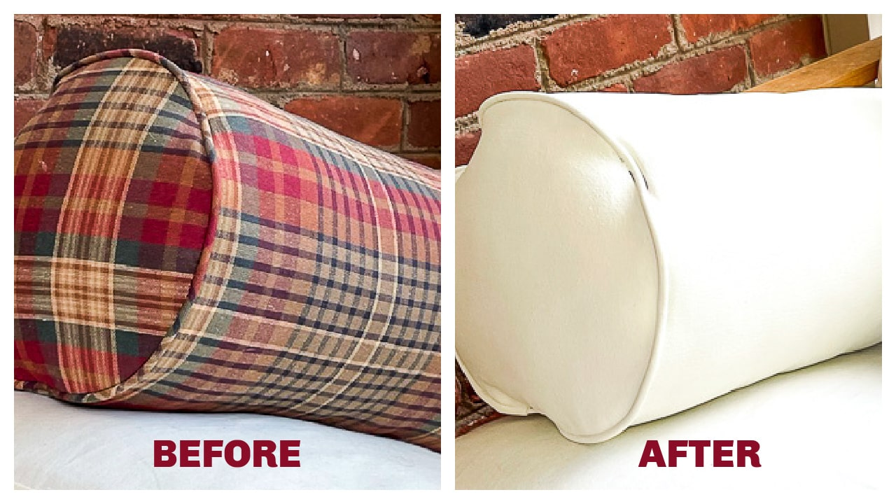 before and after photos of a painted pillow