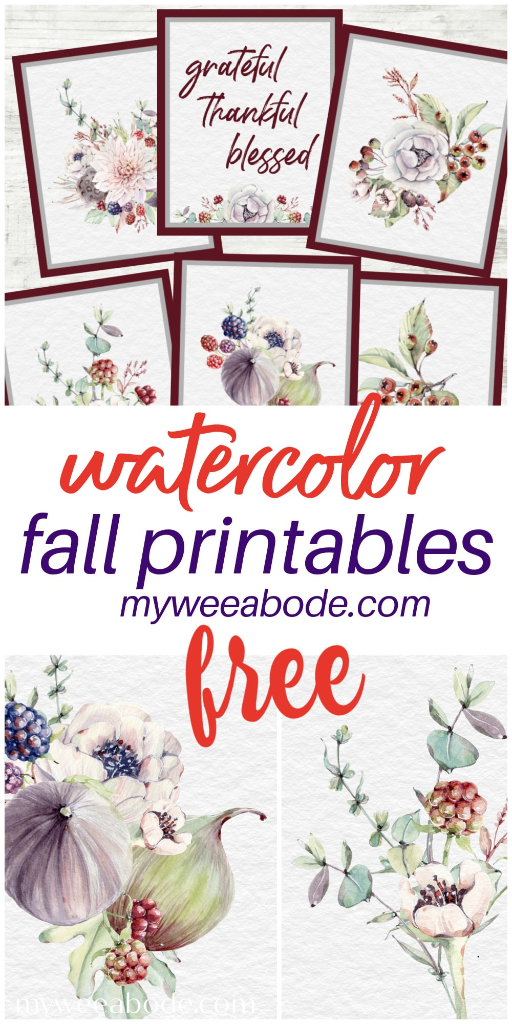 fall watercolor printable artwork for free collage