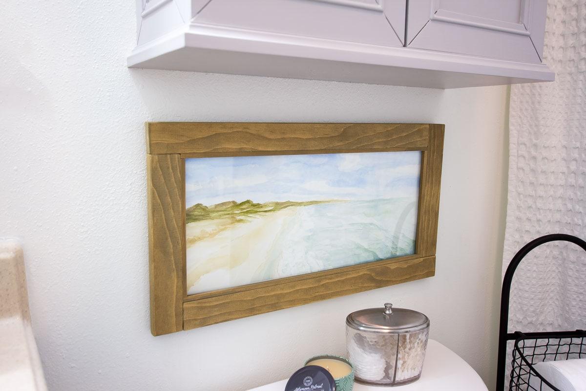diy custom wood frame with glass no power tools frame on bathroom wall