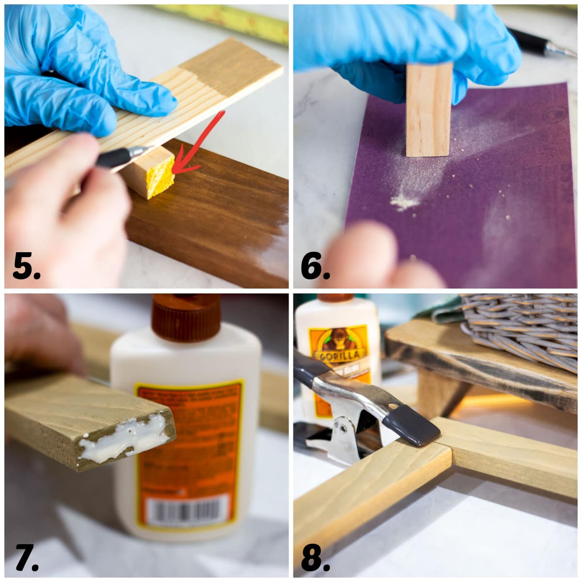 diy custom wood frame with glass no power tools collage of tutorial steps gluing wood