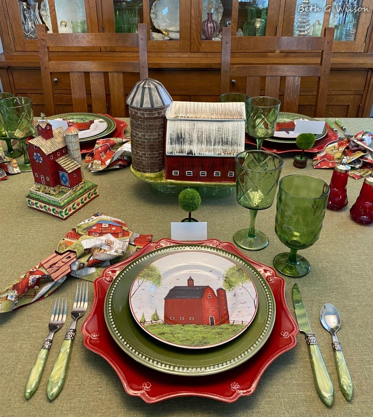 country barn tablescape in red and green