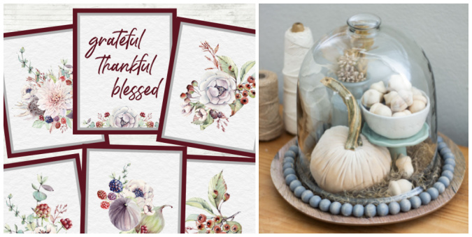 tuesday turn about 117 all pumpkins collage of printables and cloche with fall decor