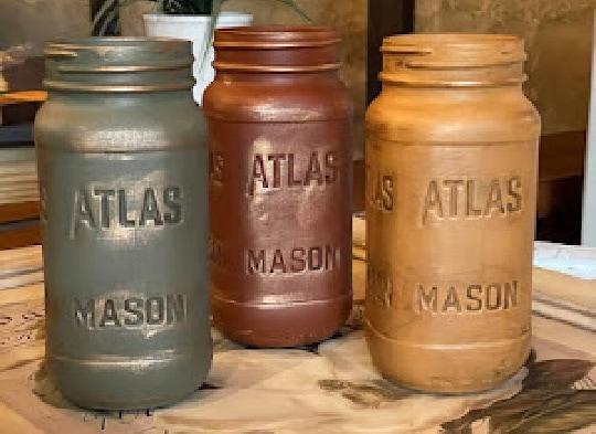 vintage look mason jars in fall colors