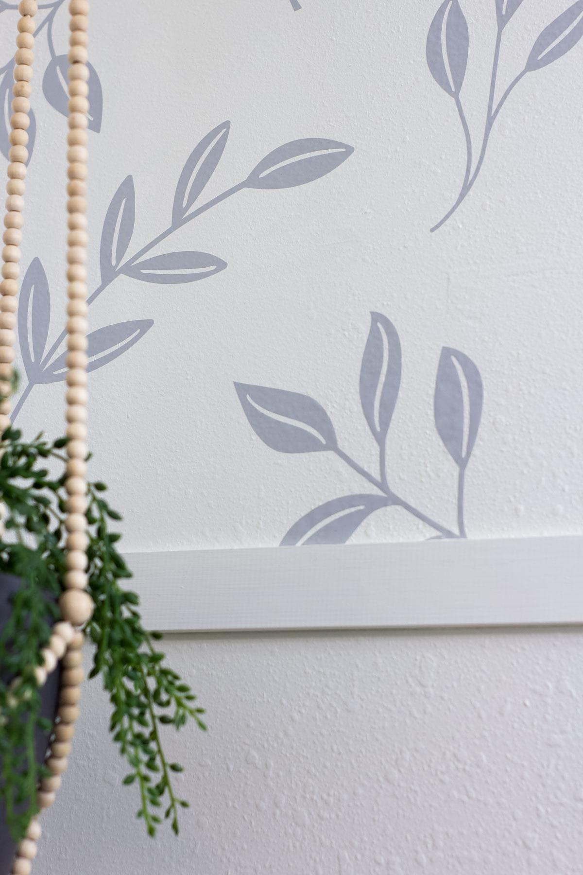 leaf wall treatment with wood trim
