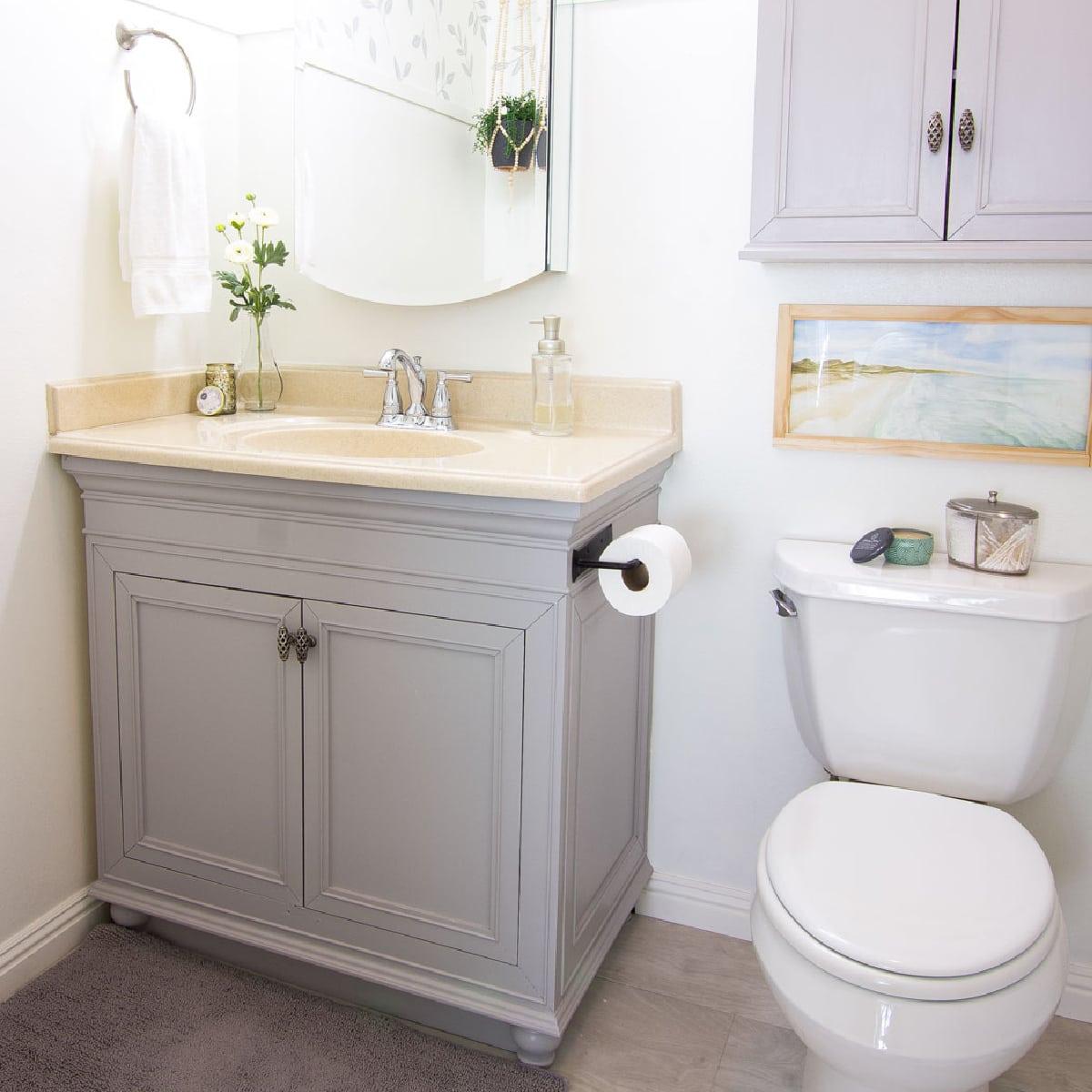 Modern Coastal Bathroom Makeover Reveal