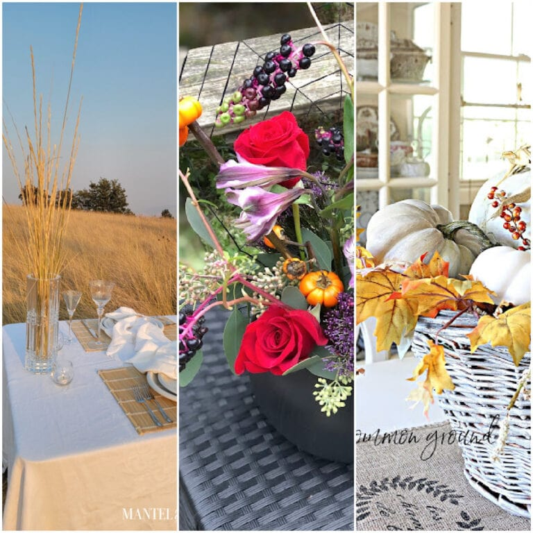 tuesday turn about 121 table tidbits centerpiece with basket and pumpkins and florals collage